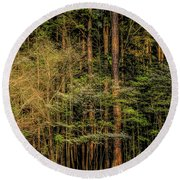 Forest Dogwood Round Beach Towel