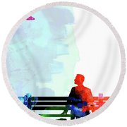 Forest Gump Watercolor II Round Beach Towel