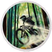 Forest Jump Mountain Biker Round Beach Towel
