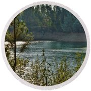 Forest Lake In Amendoa Round Beach Towel