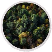 Forest Landscape - Aerial Photography Round Beach Towel
