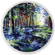 Forest With Wildflowers Round Beach Towel