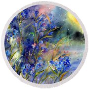 Forget-me-not Watercolor Round Beach Towel