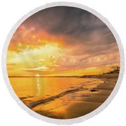 Fort Foster Sunset Watchers Club Round Beach Towel