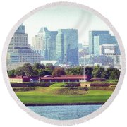 Round Beach Towel featuring the photograph Fort Mchenry With Baltimore Background by Bill Swartwout Fine Art Photography