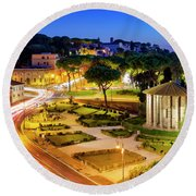 Round Beach Towel featuring the photograph Forum Boarium by Fabrizio Troiani