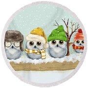 Four Winter Owls Round Beach Towel