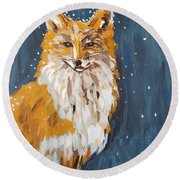 Fox Winter Night Round Beach Towel
