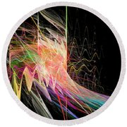 Fractal Beauty Deluxe Colorful Round Beach Towel
