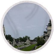 Framed In The Cemetery Round Beach Towel