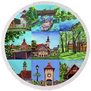 Frankenmuth Downtown Michigan Painting Collage IIi Round Beach Towel