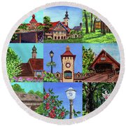 Frankenmuth Downtown Michigan Painting Collage Iv Round Beach Towel