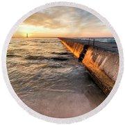 Frankfort Pier Sunset 2x1 Round Beach Towel