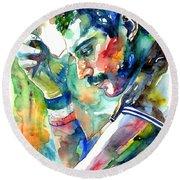 Freddie Mercury With Cigarette Round Beach Towel