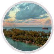 Freighter Off Paradise Island Round Beach Towel