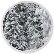 French Alps, Snow Covered Fir Trees In Winter Round Beach Towel