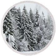 French Alps, Snow Covered Fir Trees In Winter  Photo Round Beach Towel