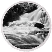 French Alps Stream Round Beach Towel