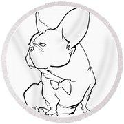French Bulldog Gesture Sketch Round Beach Towel