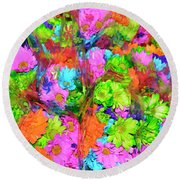 French Floral  Round Beach Towel