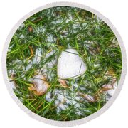 Round Beach Towel featuring the photograph Fresh Snow by Jon Burch Photography