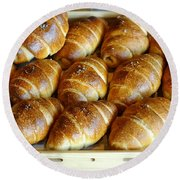 Freshly Baked Bread Rolls Round Beach Towel