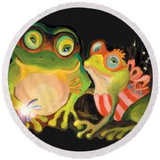 Frogs Overlay  Round Beach Towel