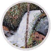 Frolictown Falls Round Beach Towel