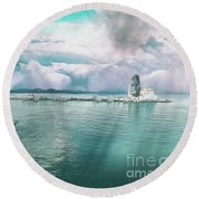 Round Beach Towel featuring the photograph From The Causeway Pontikonisi Corfu by Leigh Kemp