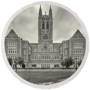 Front View Of Gasson Hall Building Round Beach Towel