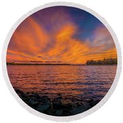 Frontenac Ferry Sunset Round Beach Towel