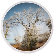 Frost On The Mountain Round Beach Towel