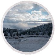 Frosted Sunrise 1 Round Beach Towel
