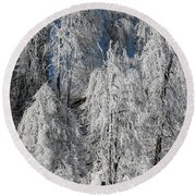 Frosted Trees Round Beach Towel