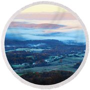 Round Beach Towel featuring the photograph Frosty Autumn by Candice Trimble