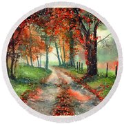 Frosty Autumn Patch Round Beach Towel