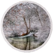 Round Beach Towel featuring the photograph Frosty Pond by Fiskr Larsen