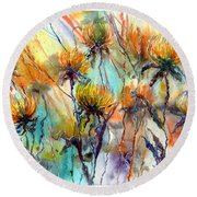 Frozen Chrysanthemums Round Beach Towel