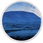 frozen coastline near Longyearbyen Round Beach Towel