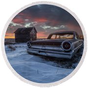 Round Beach Towel featuring the photograph Frozen Galaxie 500  by Aaron J Groen