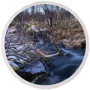 Frozen River And Winter In Forest Round Beach Towel