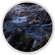 Frozen River II Round Beach Towel