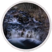 Frozen River In Forest - Long Exposure With Nd Filter Round Beach Towel