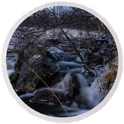 Frozen Stream In Winter Forest Round Beach Towel