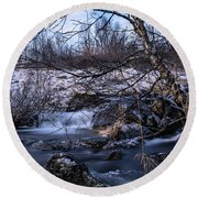 Frozen Tree In Winter River Round Beach Towel