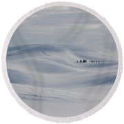 Frozen Winter Hills Round Beach Towel