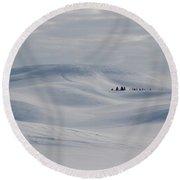 Frozen Winter Hills Round Beach Towel