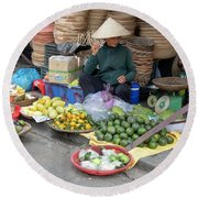 Fruit Market Woman 2, Vietnam Round Beach Towel