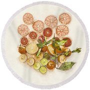 Fruits Mix Round Beach Towel