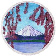 Sakura Blooming On The Background Of A Snowy Mountain Round Beach Towel